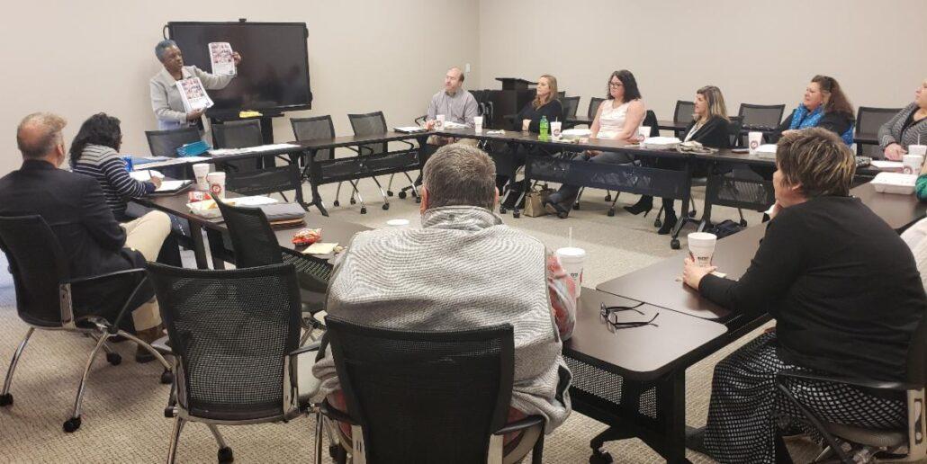 U.S. Census Bureau Partnership Specialist Linda Shell speaks at county, municipal clerks meeting at Upper Savannah COG.